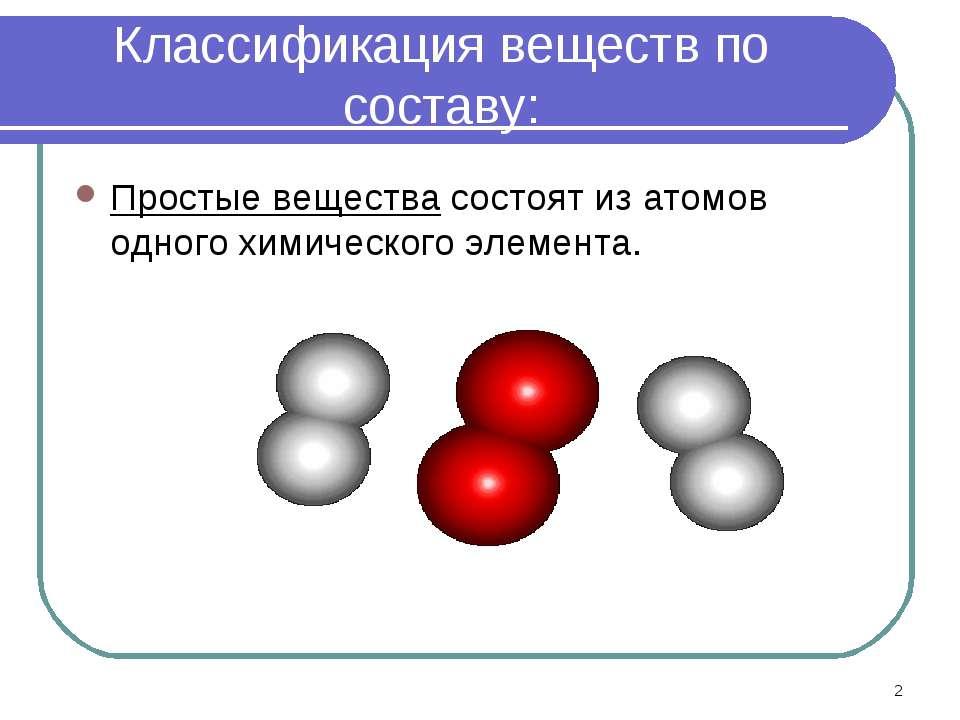 * Классификация веществ по составу: Простые вещества состоят из атомов одного...