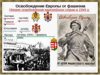 Освобождение Европы от фашизма Начало освобождения европейских стран в 1944 г...