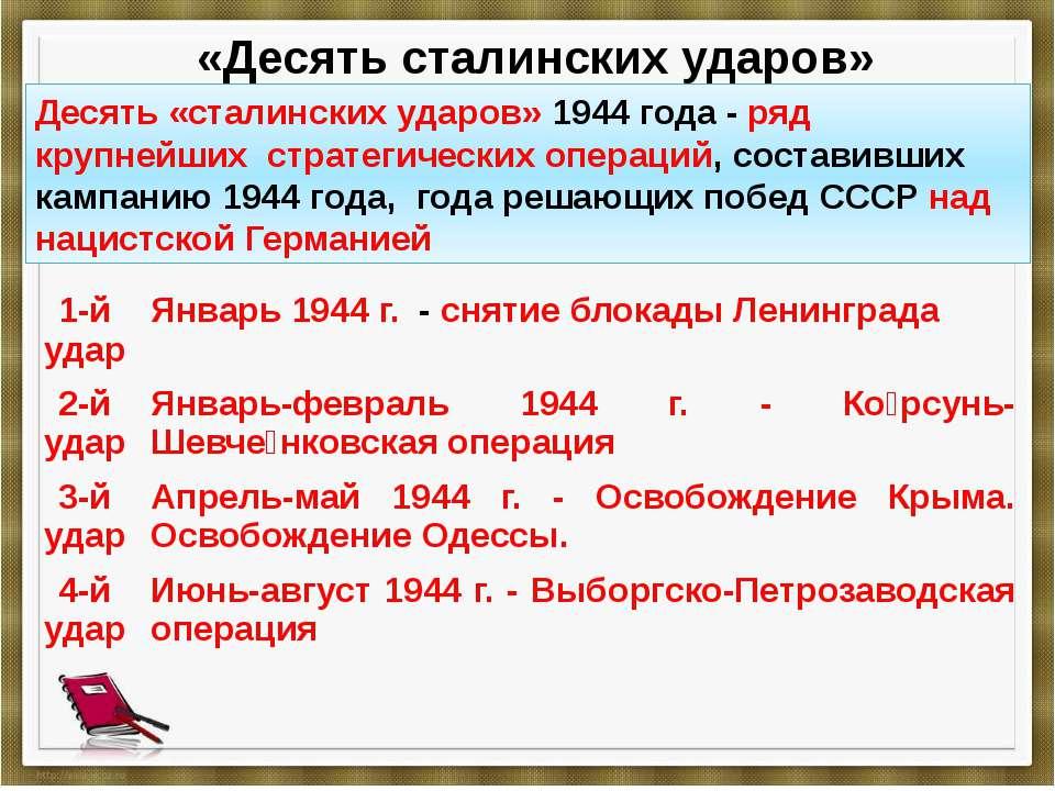 «Десять сталинских ударов» Десять «сталинских ударов» 1944 года- ряд крупней...