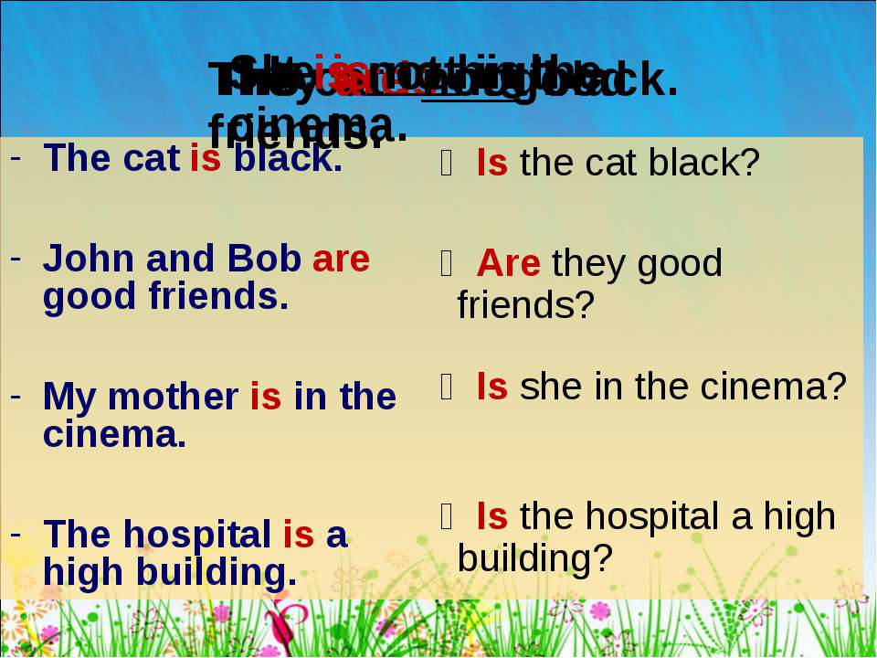 The cat is black. John and Bob are good friends. My mother is in the cinema. ...