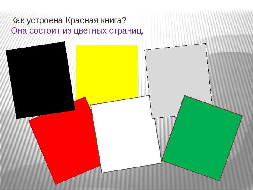 Как устроена Красная книга? Она состоит из цветных страниц.
