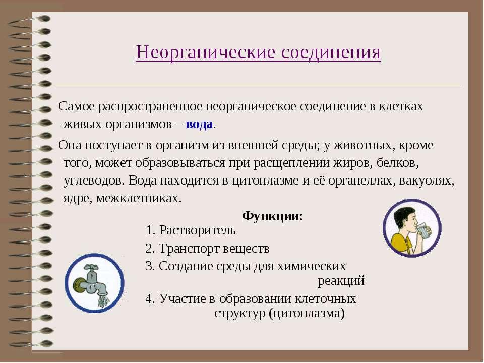 Неорганические соединения Самое распространенное неорганическое соединение в ...