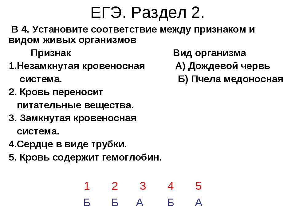 ЕГЭ. Раздел 2. В 4. Установите соответствие между признаком и видом живых орг...
