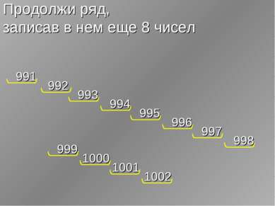 Продолжи ряд, записав в нем еще 8 чисел 991 992 993 994 995 996 997 998 999 1...