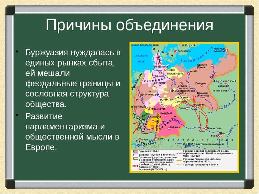 Причины объединения Буржуазия нуждалась в единых рынках сбыта, ей мешали феод...