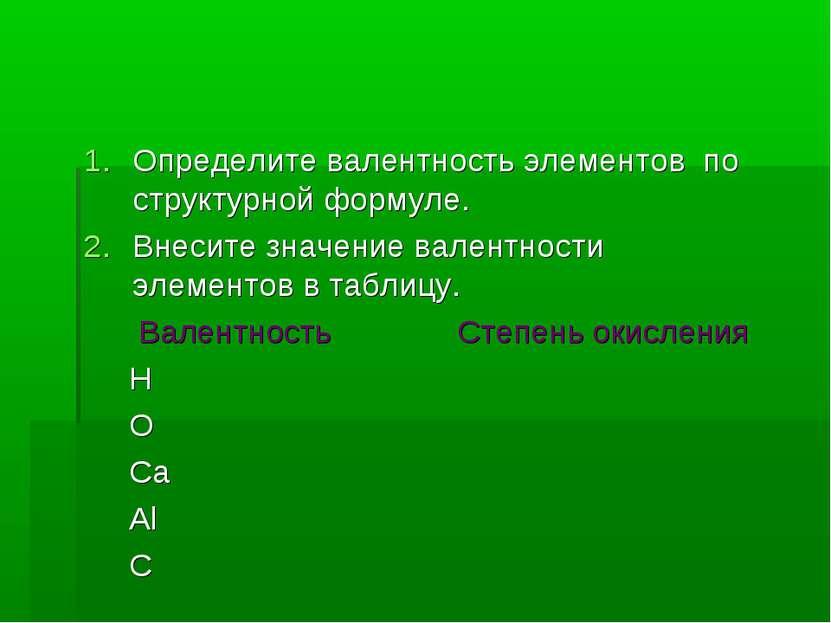 Определите валентность элементов по структурной формуле. Внесите значение вал...