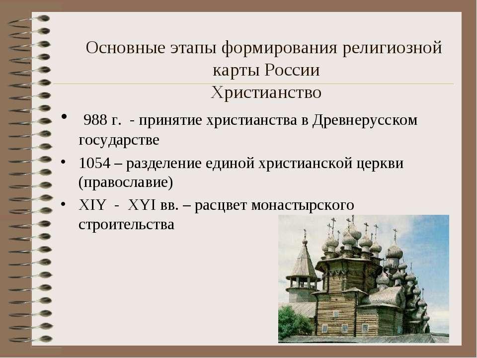 Основные этапы формирования религиозной карты России Христианство 988 г. - пр...