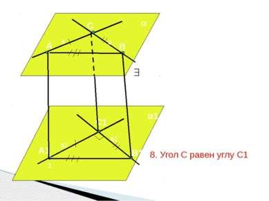 а в а1 в1 А В С А1 А1 С1 В1 α α1 1. α и α1 параллельны (по т. 17.1) 2. т.к. а...