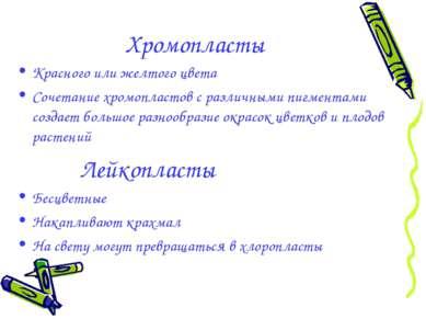 Хромопласты Красного или желтого цвета Сочетание хромопластов с различными пи...