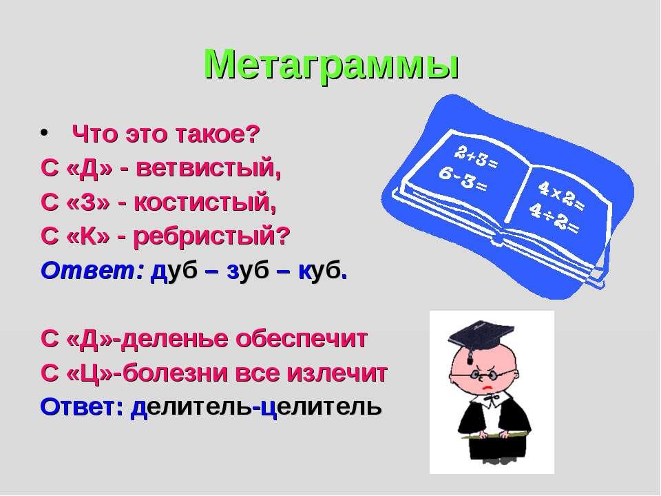 Метаграммы Что это такое? С «Д» - ветвистый, С «З» - костистый, С «К» - ребри...