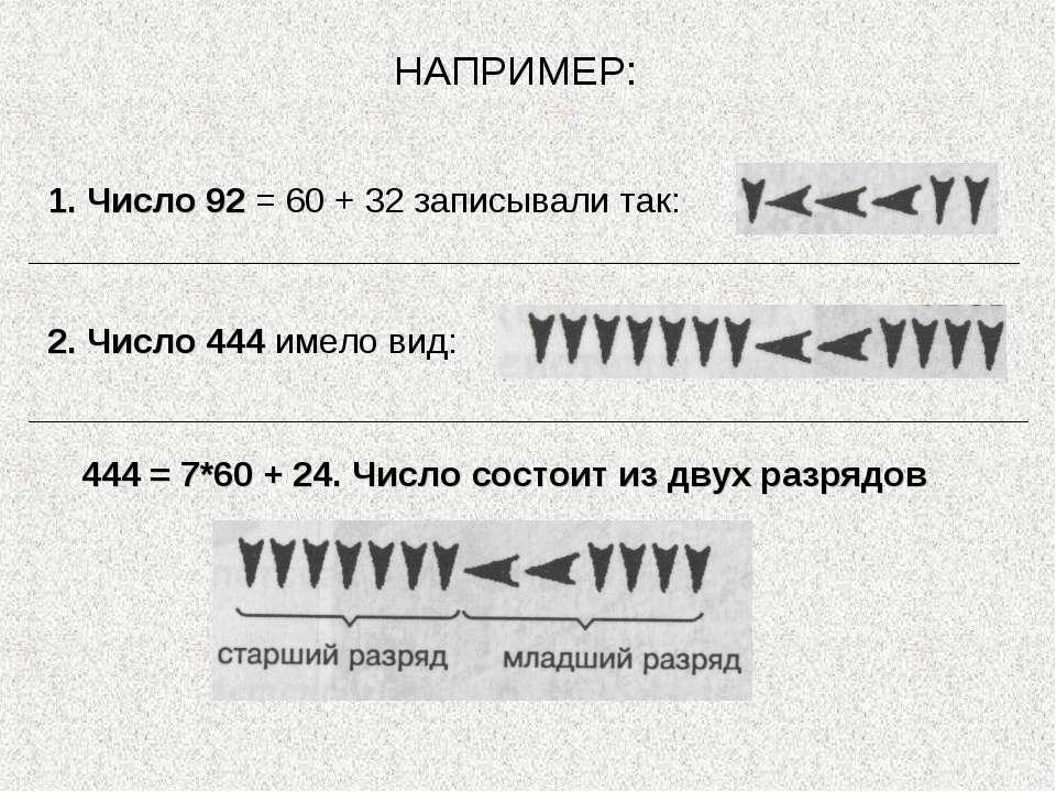 1. Число 92 = 60 + 32 записывали так: 2. Число 444 имело вид: НАПРИМЕР: 444 =...