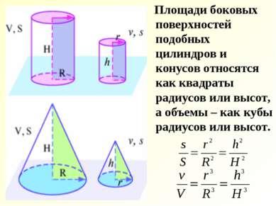 Площади боковых поверхностей подобных цилиндров и конусов относятся как квадр...