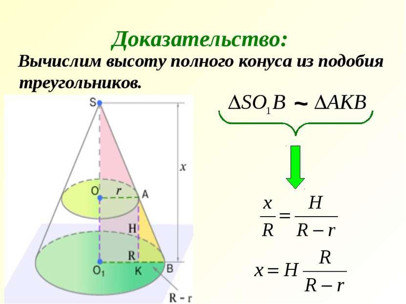 Вычислим высоту полного конуса из подобия треугольников. Доказательство: ~
