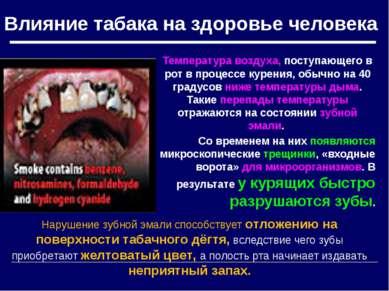 Влияние табака на здоровье человека Температура воздуха, поступающего в рот в...