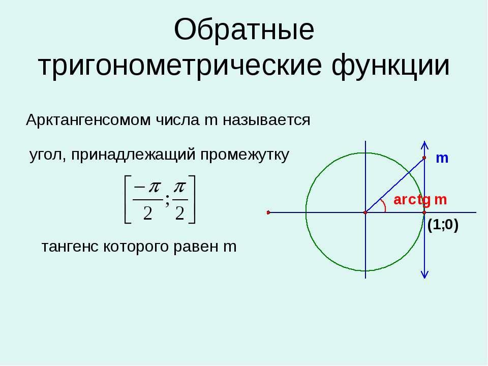 Обратные тригонометрические функции угол, принадлежащий промежутку Арктангенс...