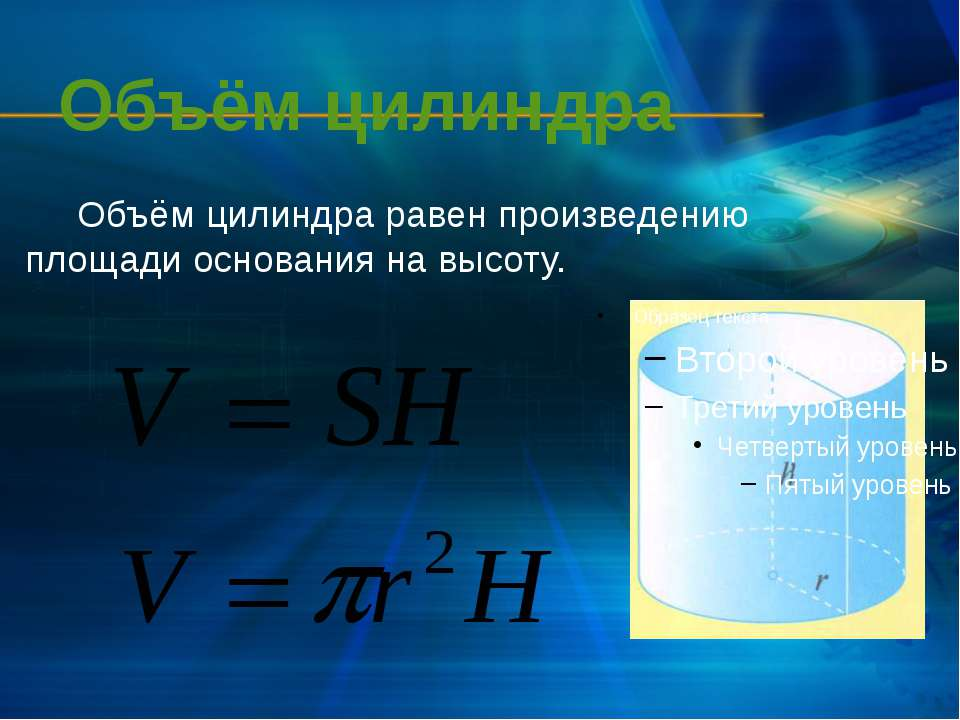 Объём цилиндра Объём цилиндра равен произведению площади основания на высоту.