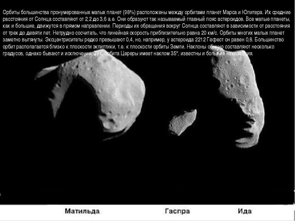 Орбиты большинства пронумерованных малых планет (98%) расположены между орбит...