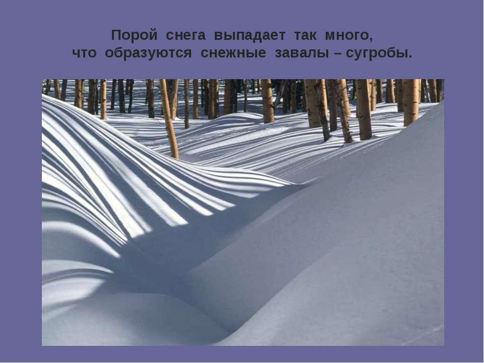 Порой снега выпадает так много, что образуются снежные завалы – сугробы.