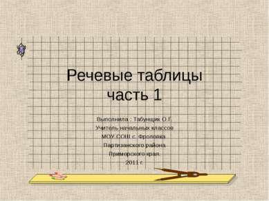 Речевые таблицы часть 1 Выполнила : Табунщик О.Г. Учитель начальных классов М...