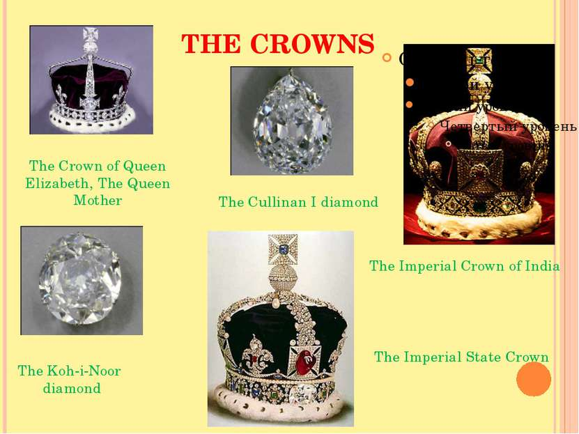 THE CROWNS The Imperial Crown of India The Crown of Queen Elizabeth, The Quee...