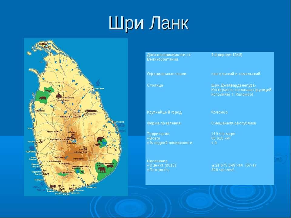 Шри Ланк Дата независимости от Великобритании 4 февраля 1948) Официальные язы...