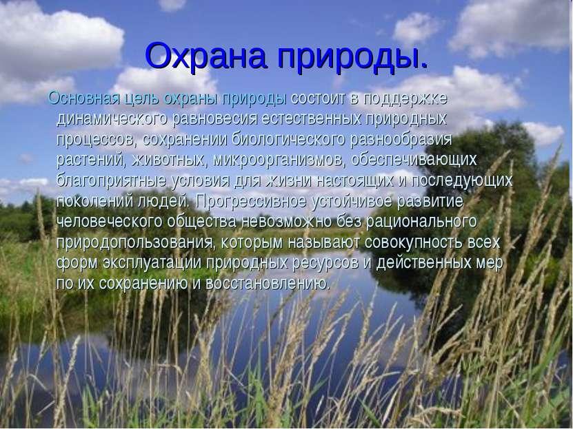 Охрана природы. Основная цель охраны природы состоит в поддержке динамическог...