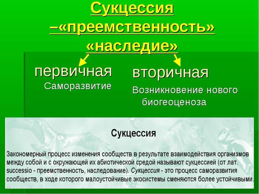 Сукцессия –«преемственность» «наследие» первичная Саморазвитие вторичная Возн...