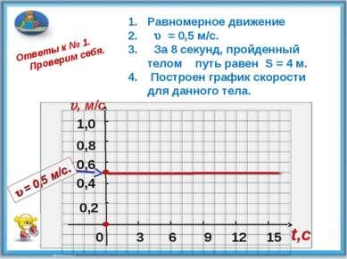 0 0,2 0,4 0,6 1,0 , м/c 3 6 9 12 15 t,c Ответы к № 1. Проверим себя. 0,8 Равн...