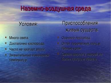 Наземно-воздушная среда Много света Достаточно кислорода Часто не хватает вла...