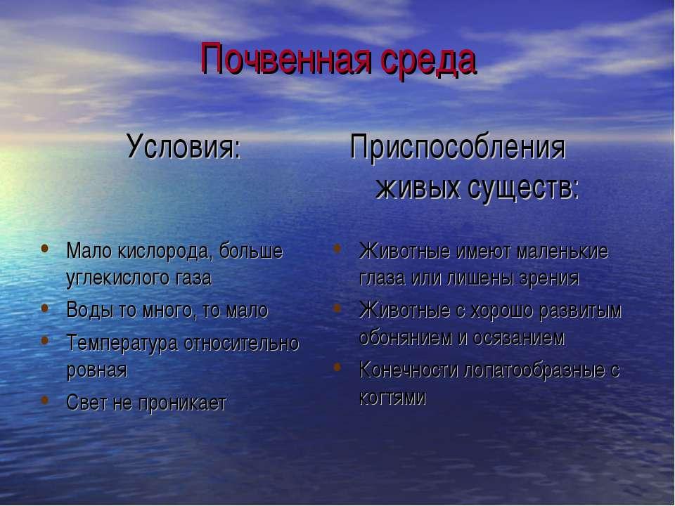 Почвенная среда Условия: Приспособления живых существ: Мало кислорода, больше...