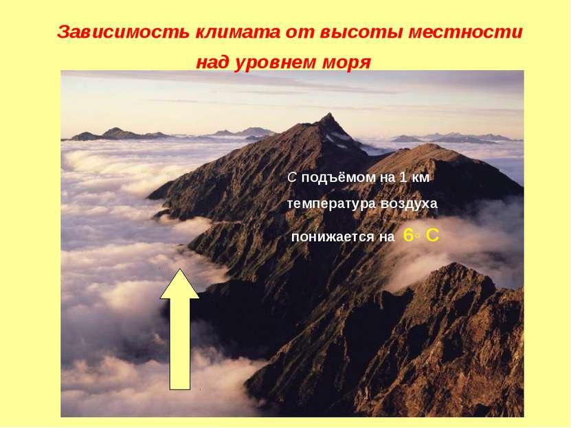 Зависимость климата от высоты местности над уровнем моря С подъёмом на 1 км т...