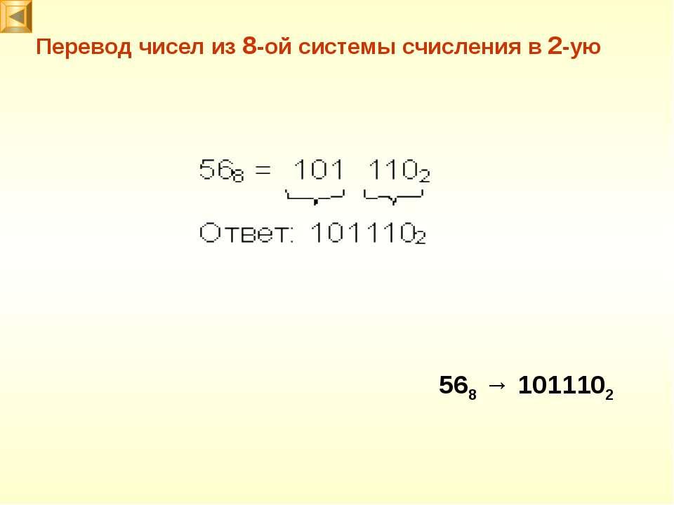 Перевод чисел из 8-ой системы счисления в 2-ую 568 → 1011102