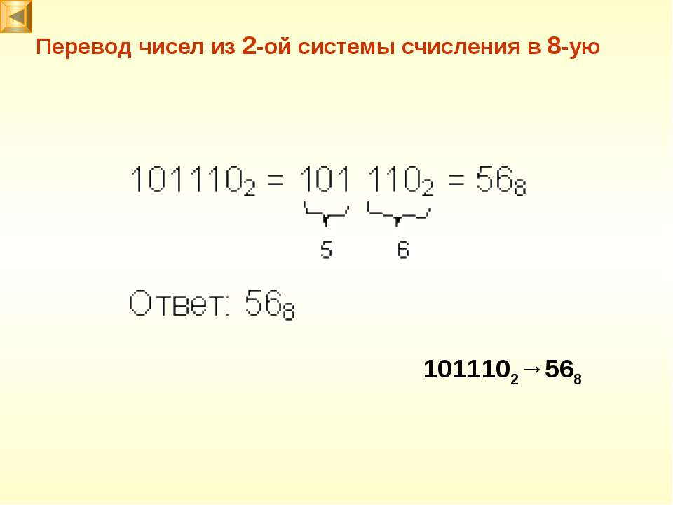 Перевод чисел из 2-ой системы счисления в 8-ую 1011102→568