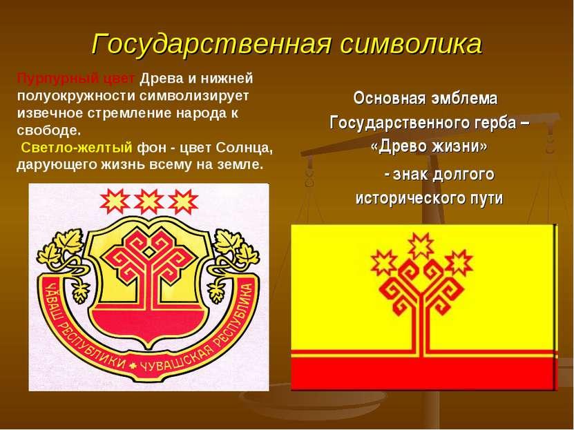 Государственная символика Основная эмблема Государственного герба – «Древо жи...