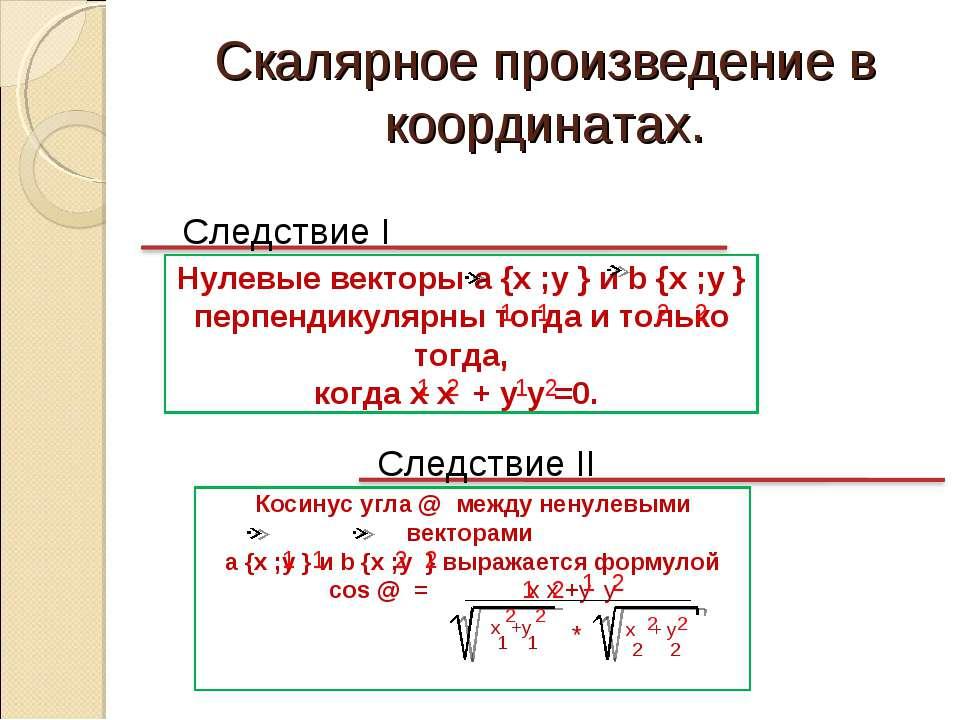 Скалярное произведение в координатах. Следствие I Следствие II Нулевые вектор...