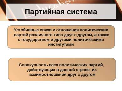 Партийная система Устойчивые связи и отношения политических партий различного...