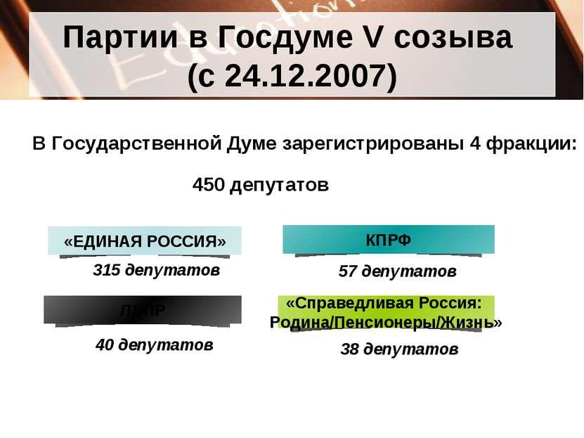 Партии в Госдуме V созыва (с 24.12.2007) 315 депутатов 57 депутатов 40 депута...