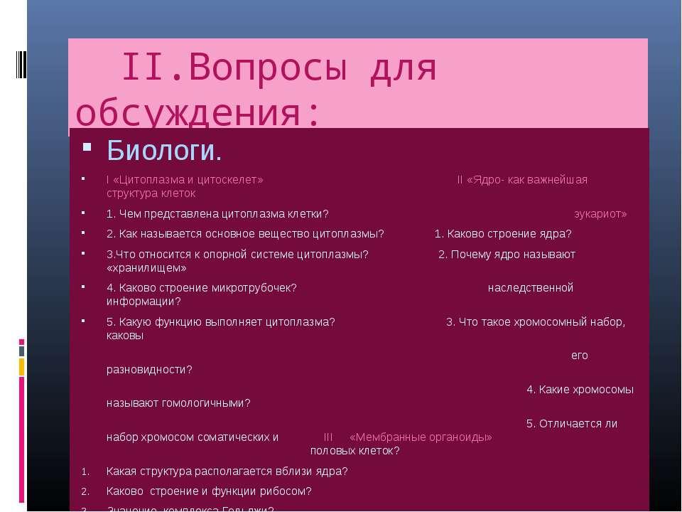 II.Вопросы для обсуждения: Биологи. I «Цитоплазма и цитоскелет» II «Ядро- как...