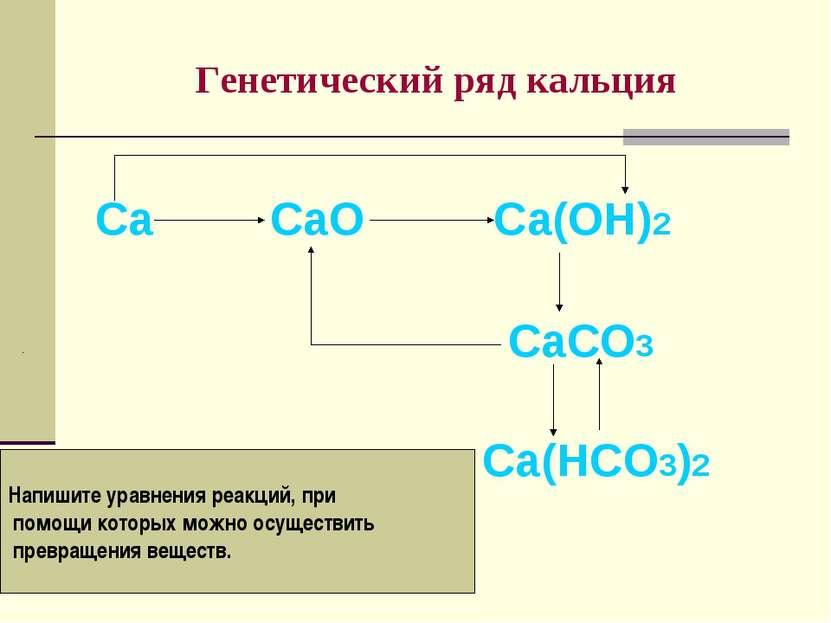 Генетический ряд кальция Са СаО Са(ОН)2 СаСО3 Са(НСО3)2 Напишите уравнения ре...