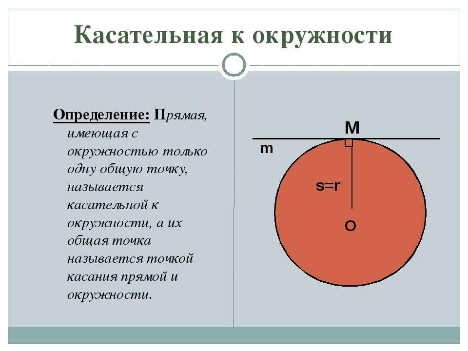 Касательная к окружности Определение: Прямая, имеющая с окружностью только од...
