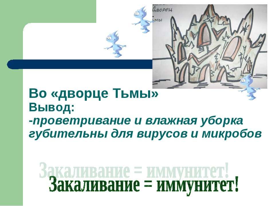Во «дворце Тьмы» Вывод: -проветривание и влажная уборка губительны для вирусо...