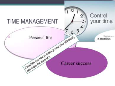 TIME MANAGEMENT Personal life Career success It teaches you how to manage you...