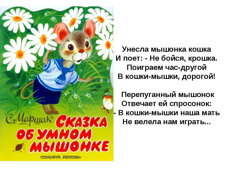 Унесла мышонка кошка И поет: - Не бойся, крошка. Поиграем час-другой В кошки-...