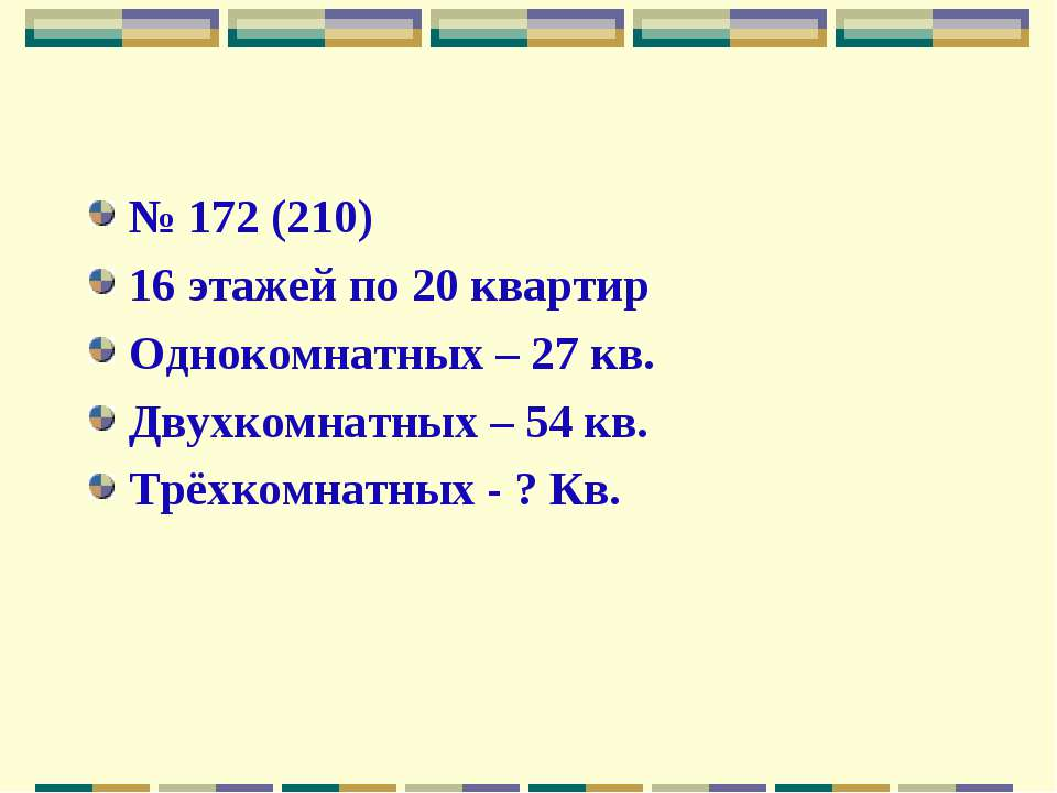 № 172 (210) 16 этажей по 20 квартир Однокомнатных – 27 кв. Двухкомнатных – 54...