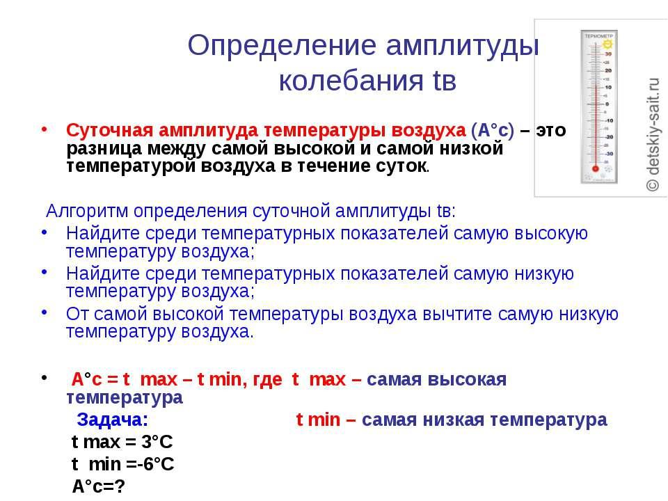Определение амплитуды колебания tв Суточная амплитуда температуры воздуха (А°...