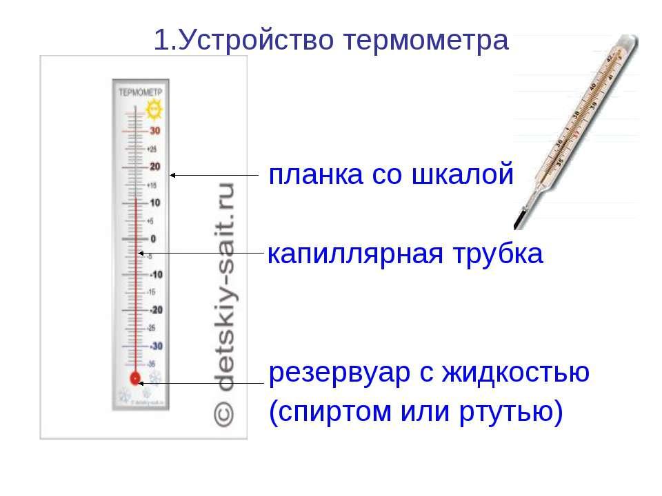 1.Устройство термометра планка со шкалой ……… капиллярная трубка резервуар с ж...