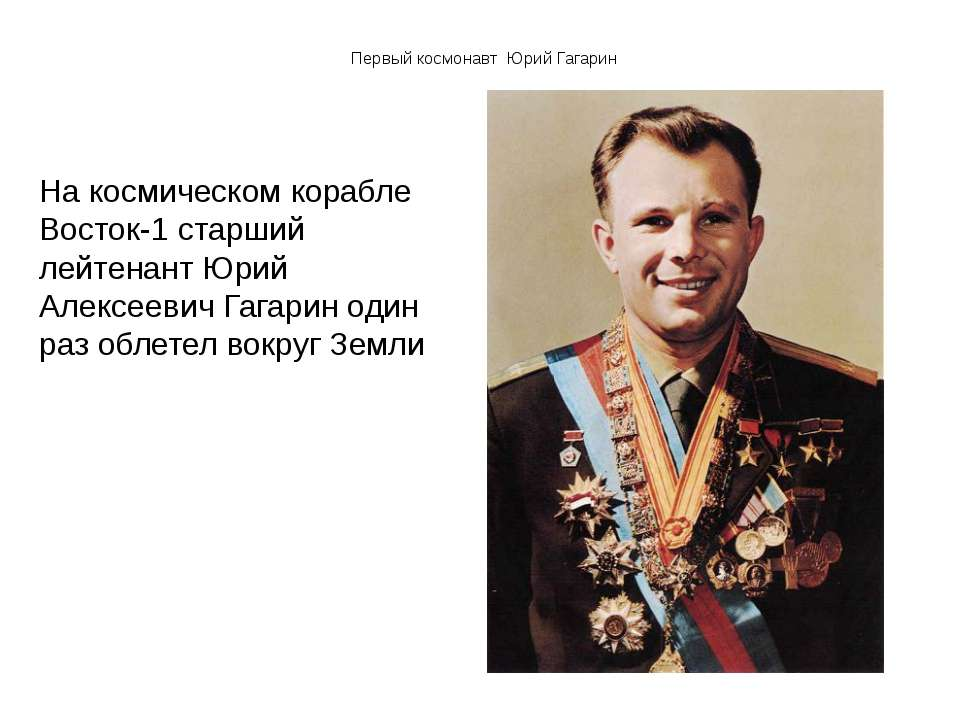 Первый космонавт Юрий Гагарин На космическом корабле Восток-1 старший лейтена...