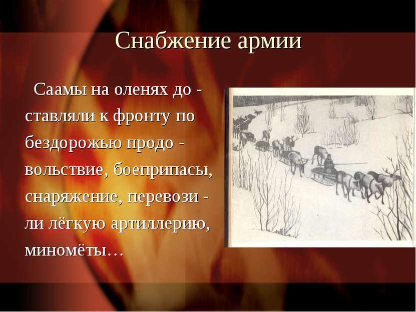 Снабжение армии Саамы на оленях до - ставляли к фронту по бездорожью продо - ...
