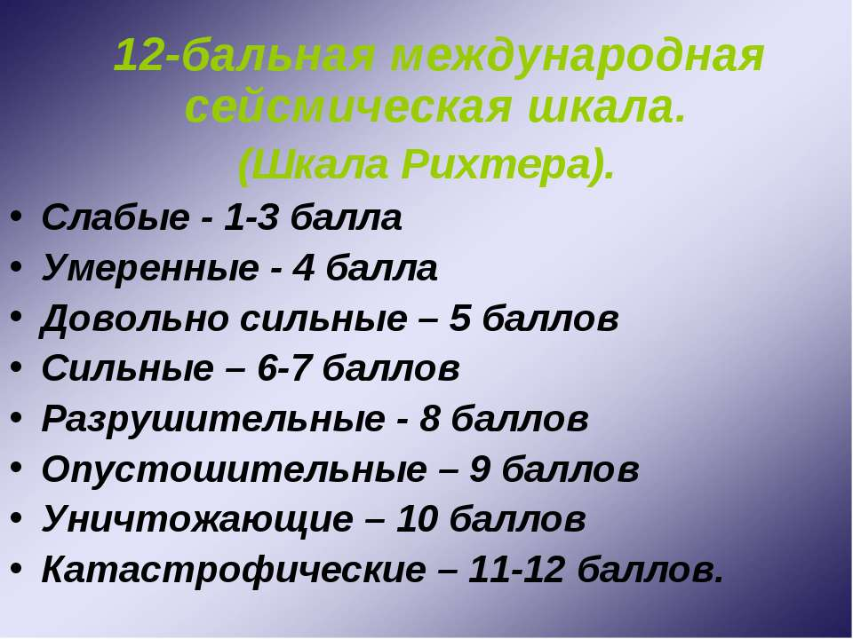 12-бальная международная сейсмическая шкала. (Шкала Рихтера). Слабые - 1-3 ба...