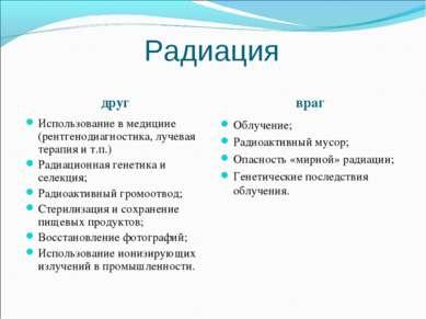 Радиация друг враг Использование в медицине (рентгенодиагностика, лучевая тер...
